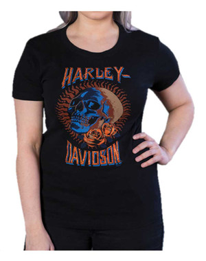 Harley-Davidson Women's Bling Embellished Dead Head Short Sleeve Tee, Black - Wisconsin Harley-Davidson