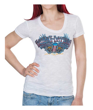 Harley-Davidson Women's Boulevard #1 Winged Foil Print Short Sleeve Tee, White - Wisconsin Harley-Davidson