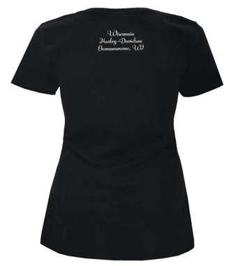 Harley-Davidson Women's Mood Swing Short Sleeve Cross Strap V-Neck Tee, Black - Wisconsin Harley-Davidson