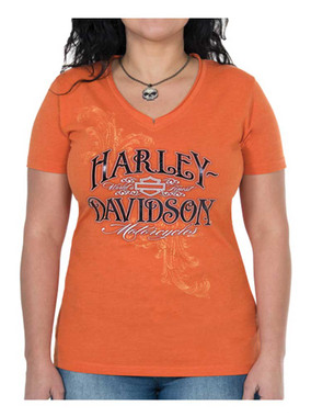 Harley-Davidson Women's Rebel Metallic Short Sleeve V-Neck Tee, Orange - Wisconsin Harley-Davidson