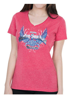 Harley-Davidson Women's Foil Printed Reflective Wings Short Sleeve Tee, Red - Wisconsin Harley-Davidson