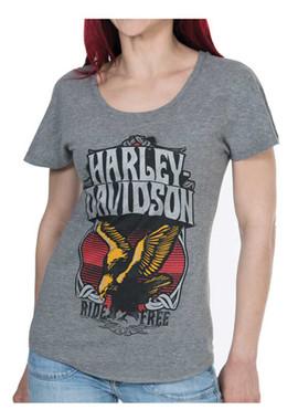Harley-Davidson Women's Stone Free Metallic Short Sleeve Dolman Tee, Gray - Wisconsin Harley-Davidson