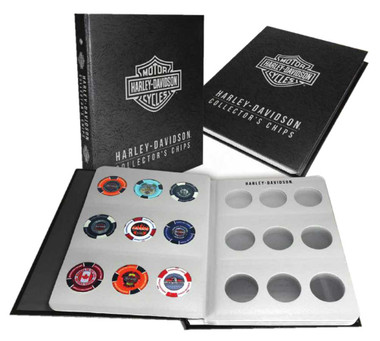 Harley-Davidson Collector's Poker Chip Leather Grain Album - Holds 54 Chips 6654 - Wisconsin Harley-Davidson