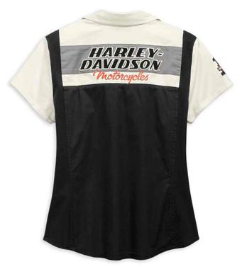 Harley-Davidson Women's H-D Racing Zip-Front Short Sleeve Shirt 99134-19VW - Wisconsin Harley-Davidson