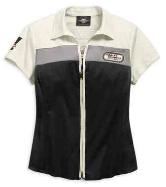 Harley-Davidson Women's H-D Racing Zip-Front Short Sleeve Shirt 99134-19VW - Wisconsin Harley-Davidson