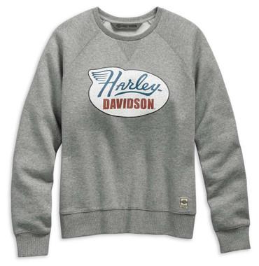 Harley-Davidson Women's Distressed Print Pullover Sweatshirt, Gray 99113-19VW - Wisconsin Harley-Davidson