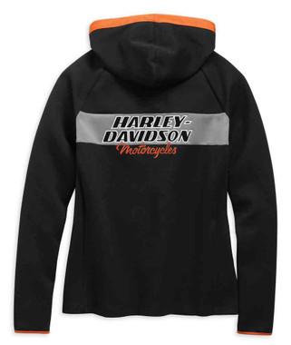 Harley-Davidson Women's H-D Racing Zippered Knit Hoodie - Black 99132-19VW - Wisconsin Harley-Davidson