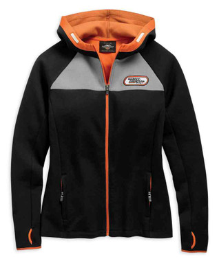 Harley-Davidson Women's H-D Racing Zippered Knit Hoodie - Black 99132-19VW - Wisconsin Harley-Davidson