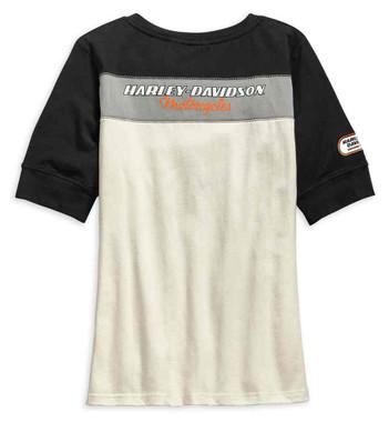 Harley-Davidson Women's H-D Racing Short Sleeve Henley, Off-White 99136-19VW - Wisconsin Harley-Davidson