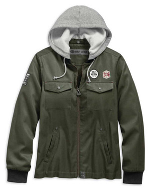Harley-Davidson Women's Patches Hooded Bomber Casual Jacket, Green 98597-19VW - Wisconsin Harley-Davidson