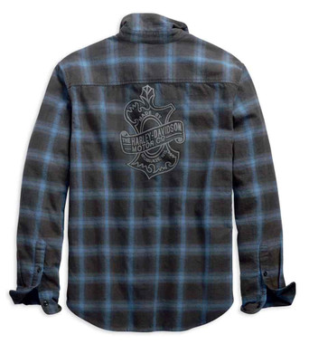 Harley-Davidson Men's Plaid Oak Leaf Slim Fit Long Sleeve Shirt, Blue 99258-19VM - Wisconsin Harley-Davidson