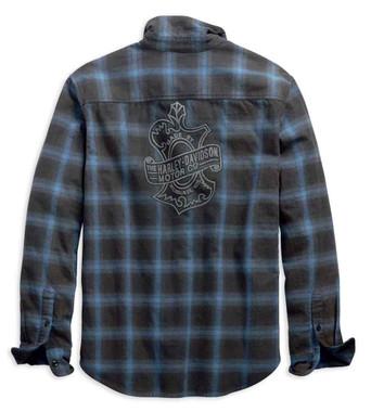Harley-Davidson Men's Plaid Oak Leaf Slim Fit Long Sleeve Shirt, Blue 99258-19VM - Wisconsin Harley-Davidson