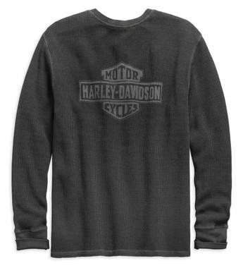 Harley-Davidson Men's Washed Waffle Knit Slim Fit Henley - Gray 99142-19VM - Wisconsin Harley-Davidson