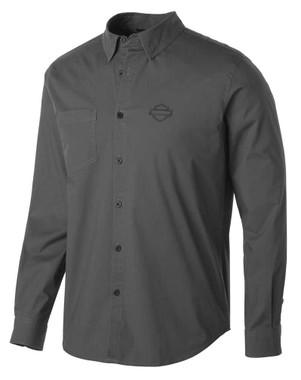 Harley-Davidson Men's Stretch Long Sleeve Slim Fit Shirt, Gray 99150-19VM - Wisconsin Harley-Davidson