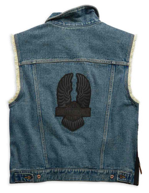 Harley-Davidson Men's Blowout Slim Fit Denim Vest, Dress Blues 99257-19VM - Wisconsin Harley-Davidson