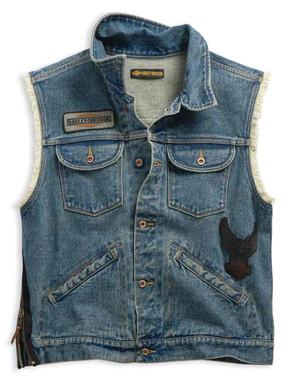 Harley-Davidson Men's Blowout Slim Fit Denim Vest, Dress Blues 99257-19VM - Wisconsin Harley-Davidson