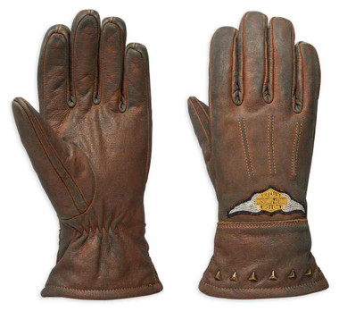 Harley-Davidson Women's Element Full-Finger Leather Gloves, Brown 98105-19VW - Wisconsin Harley-Davidson