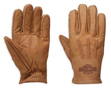 Harley-Davidson Men's Peshtigo Full-Finger Leather Gloves, Tan 98324-19VM - Wisconsin Harley-Davidson
