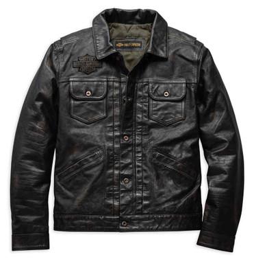 Harley-Davidson Men's Digger Slim Fit Washed Leather Jacket, Black 98036-19VM - Wisconsin Harley-Davidson
