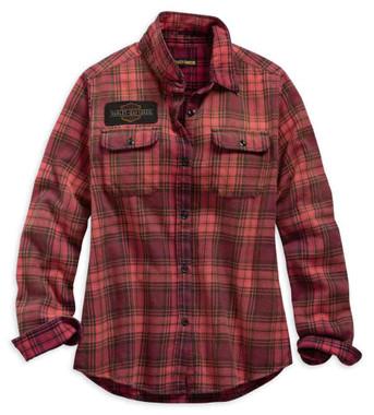 Harley-Davidson Women's Laser Cut Logo Long Sleeve Plaid Shirt - Red 99123-19VW - Wisconsin Harley-Davidson