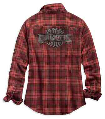 Harley-Davidson Women's Laser Cut Logo Long Sleeve Plaid Shirt - Red 99123-19VW - Wisconsin Harley-Davidson