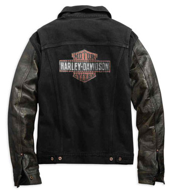 Harley-Davidson Men's Leather Sleeve Slim Fit Denim Jacket, Black 99183-19VM - Wisconsin Harley-Davidson