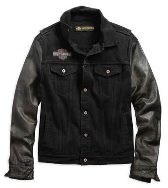 Harley-Davidson Men's Leather Sleeve Slim Fit Denim Jacket, Black 99183-19VM - Wisconsin Harley-Davidson