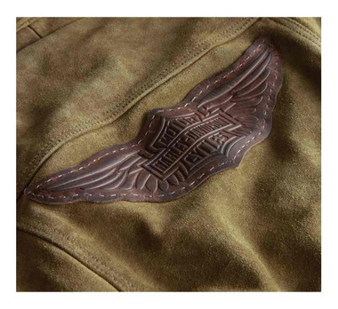 Harley-Davidson Women's Gauges Patch Suede Leather Jacket - Tan 98040-19VW - Wisconsin Harley-Davidson