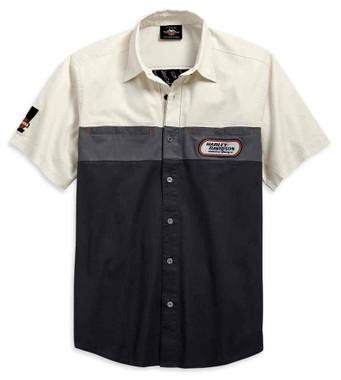 Harley-Davidson Men's Racing Colorblocked Short Sleeve Woven Shirt 99166-19VM - Wisconsin Harley-Davidson