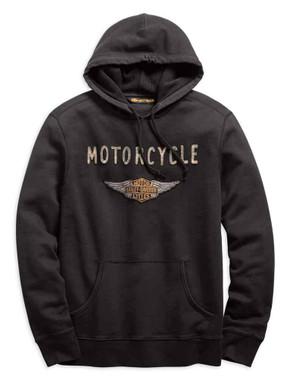 Harley-Davidson Men's Felt Patch Slim Fit Pullover Hoodie, Gray 99143-19VM - Wisconsin Harley-Davidson