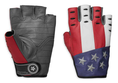 Harley-Davidson Men's Patriot Fingerless Leather Reflective Gloves 98106-19VM - Wisconsin Harley-Davidson