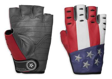 Harley-Davidson Men's Patriot Fingerless Leather Reflective Gloves 98106-19VM - Wisconsin Harley-Davidson