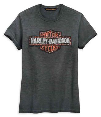 Harley-Davidson Women's Studded Logo Short Sleeve Tee - Black 99274-19VW - Wisconsin Harley-Davidson