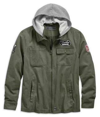 Harley-Davidson Men's Hoodie Cotton Slim Fit Casual Jacket, Green 98596-19VM - Wisconsin Harley-Davidson