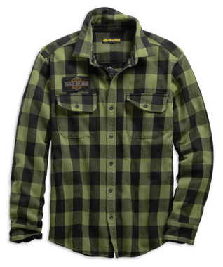 Harley-Davidson Men's Buffalo Plaid Slim Fit Long Sleeve Shirt, Green 99139-19VM - Wisconsin Harley-Davidson