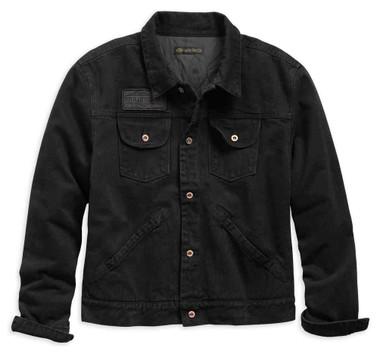 Harley-Davidson Men's Over-dyed Slim Fit Denim Jacket, Black 98403-19VM - Wisconsin Harley-Davidson