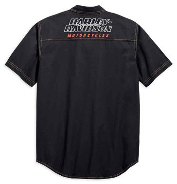 Harley-Davidson Men's H-D Racing Short Sleeve Woven Shirt, Black 99165-19VM - Wisconsin Harley-Davidson