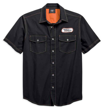 Harley-Davidson Men's H-D Racing Short Sleeve Woven Shirt, Black 99165-19VM - Wisconsin Harley-Davidson