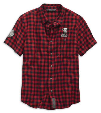 Harley-Davidson Men's Checked Plaid Slim Fit Woven Shirt, Red 99144-19VM - Wisconsin Harley-Davidson