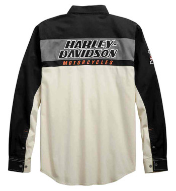 Harley-Davidson Men's H-D Racing Long Sleeve Woven Shirt, Off-White 99163-19VM - Wisconsin Harley-Davidson