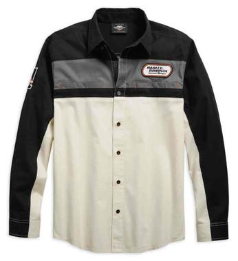 Harley-Davidson Men's H-D Racing Long Sleeve Woven Shirt, Off-White 99163-19VM - Wisconsin Harley-Davidson
