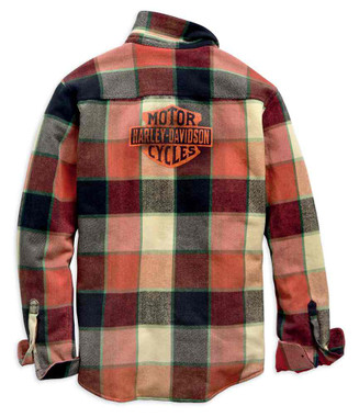 Harley-Davidson Men's Logo Lined Slim Fit Plaid Shirt Jacket - Red 99259-19VM - Wisconsin Harley-Davidson