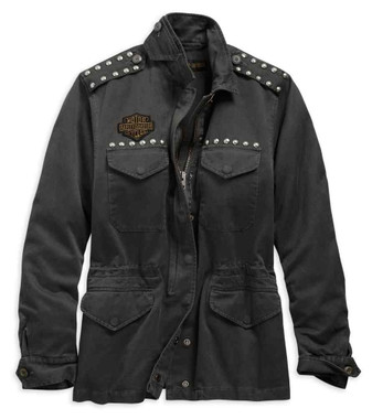 Harley-Davidson Women's Studded Accent Field Jacket - Black 98595-19VW - Wisconsin Harley-Davidson