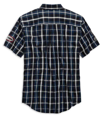 Harley-Davidson Men's Multi-Patch Slim Fit Plaid Short Sleeve Shirt 99145-19VM - Wisconsin Harley-Davidson