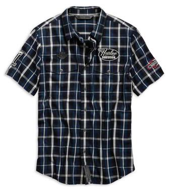 Harley-Davidson Men's Multi-Patch Slim Fit Plaid Short Sleeve Shirt 99145-19VM - Wisconsin Harley-Davidson