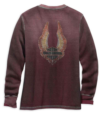 Harley-Davidson Women's Distressed Print Waffle Knit Tee - Red 99125-19VW - Wisconsin Harley-Davidson