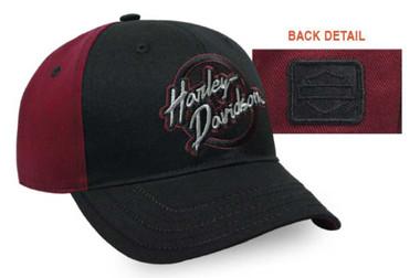 Harley-Davidson Women's Embroidered Edgy Baseball Cap, Black & Burgundy BC32181 - Wisconsin Harley-Davidson