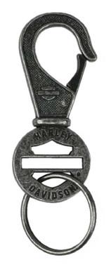 Harley-Davidson Blank Bar & Shield Keychain, Antique Plated Nickel KY114406 - Wisconsin Harley-Davidson