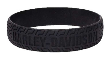 Harley-Davidson Embossed H-D Tire Track Silicone Wristband, Black WB51622 - Wisconsin Harley-Davidson