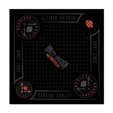Harley-Davidson Men's Velocity Bandana - Black & Orange, 24 x 24 inch BA31430 - Wisconsin Harley-Davidson